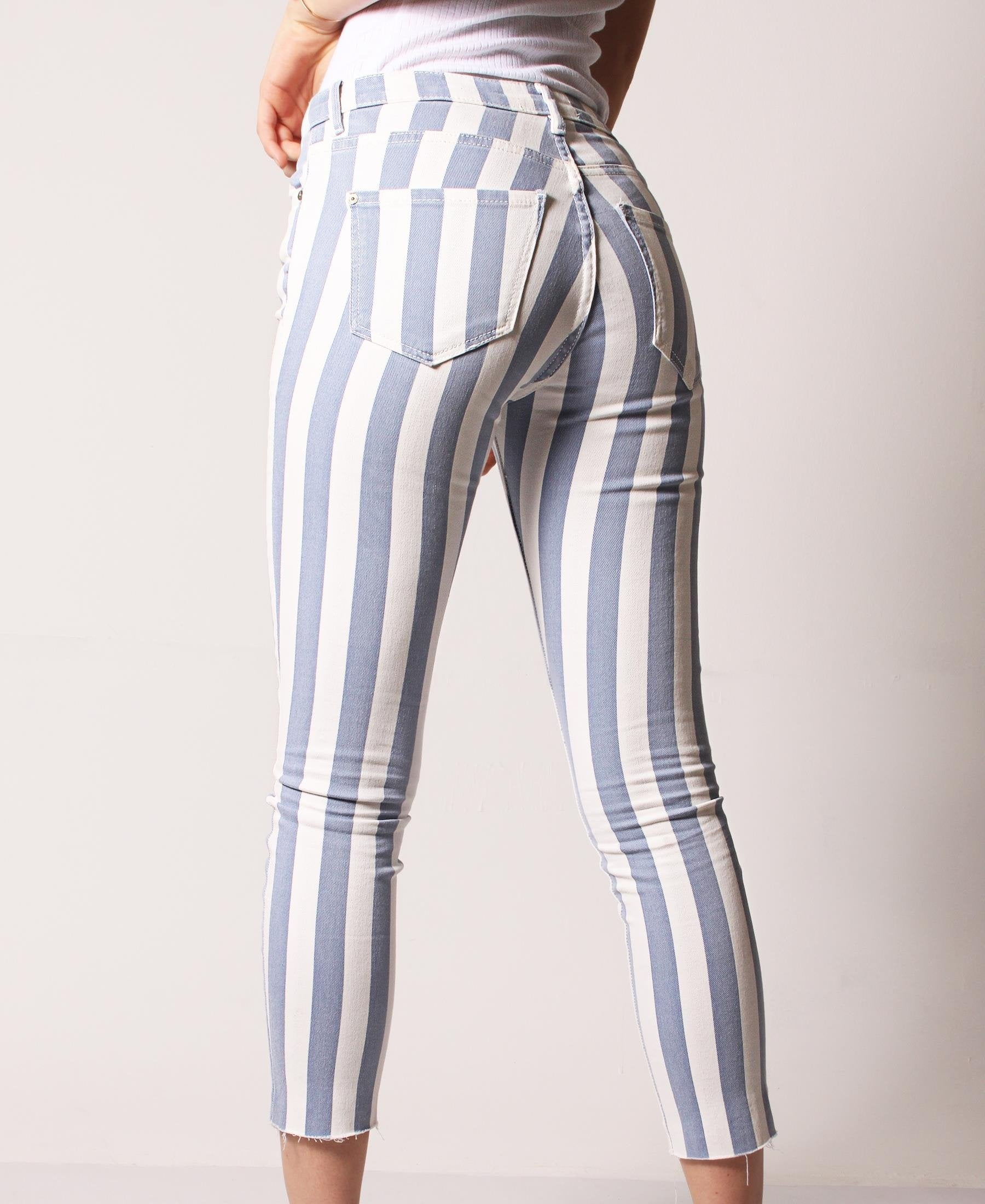 Mid Rise Striped Skinny Denim - Blue-White