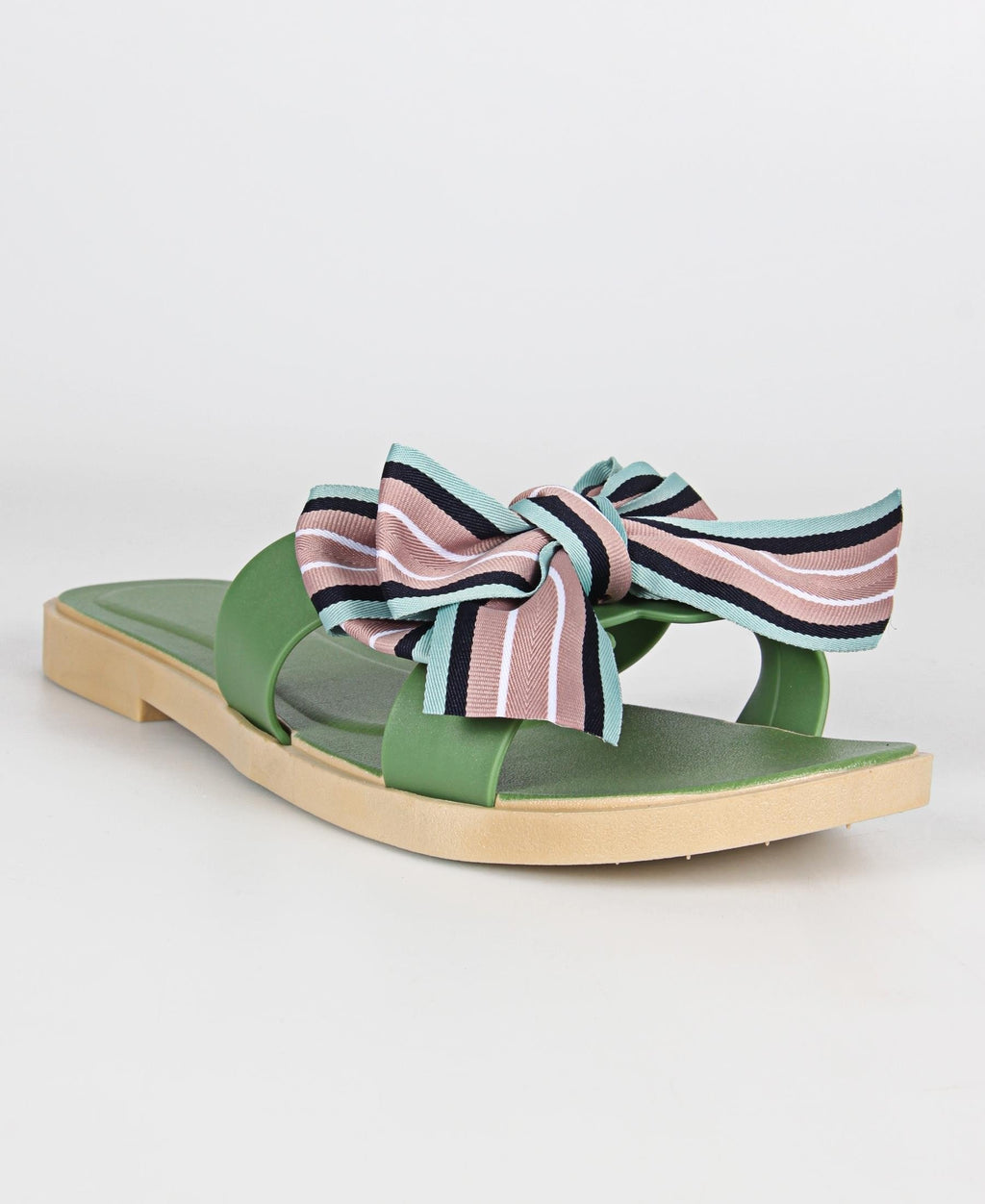 Ladies' Bow Detail Sandals - Olive
