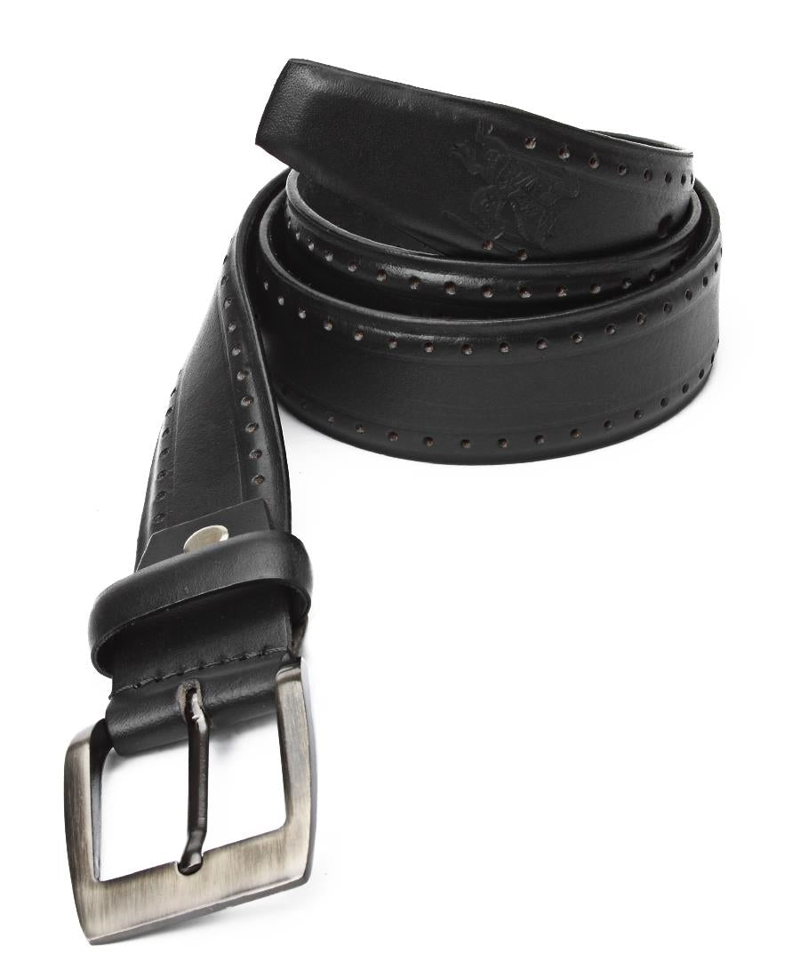Leather Brogue Belt - Black