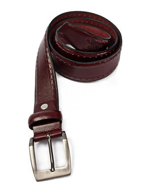 Leather Brogue Belt - Burgundy