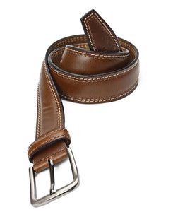Leather Brogue Belt - Tan