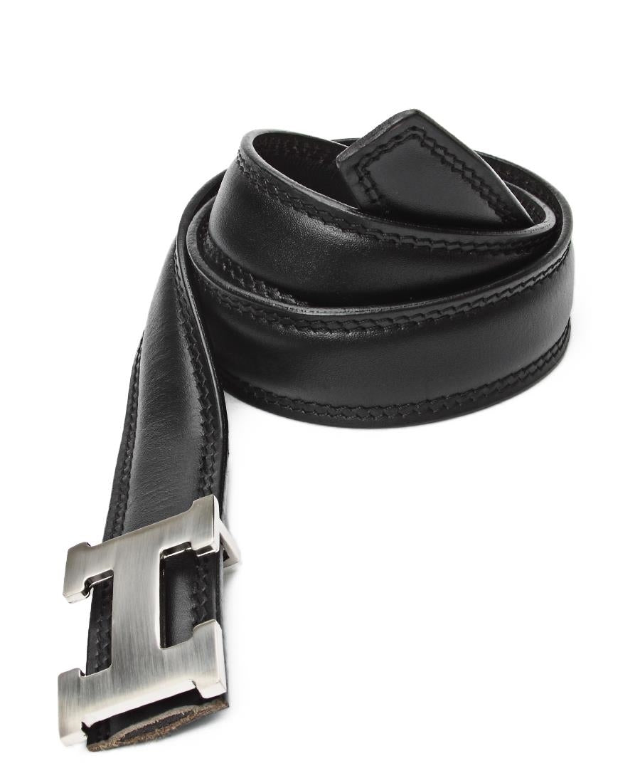 "Leather ""H"" Buckle Belt - Black"