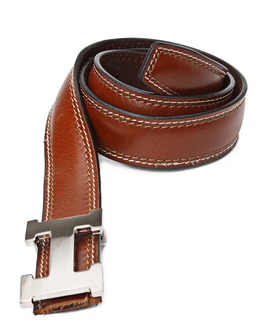 "Leather ""H"" Buckle Belt - Tan"
