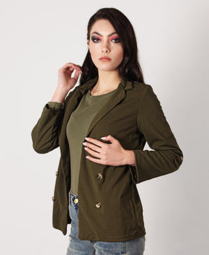 Loose Casual Blazer - Olive