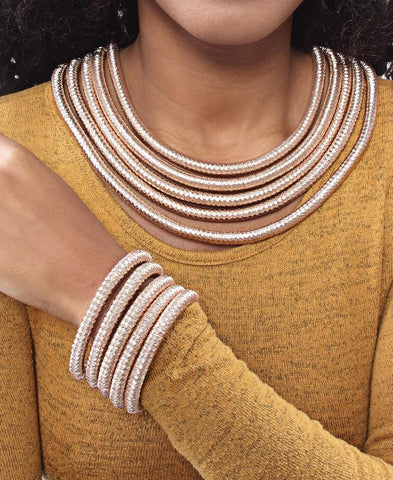 Metallic Rope Choker And Bracelet - Rose Gold
