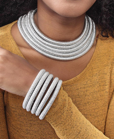 Metallic Rope Choker and Bracelet - Silver