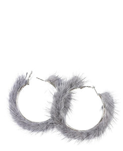 Fluff Hoop Earrings - Grey
