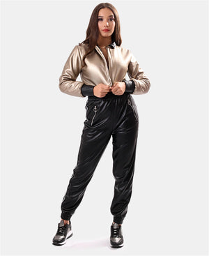 Ladies' Pleather Pants - Black