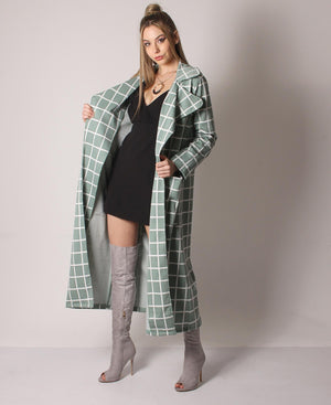 Check Longline Coat - Green