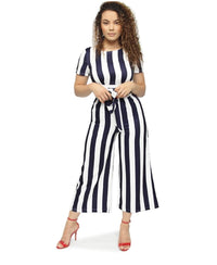Jumpsuit - Navy-White