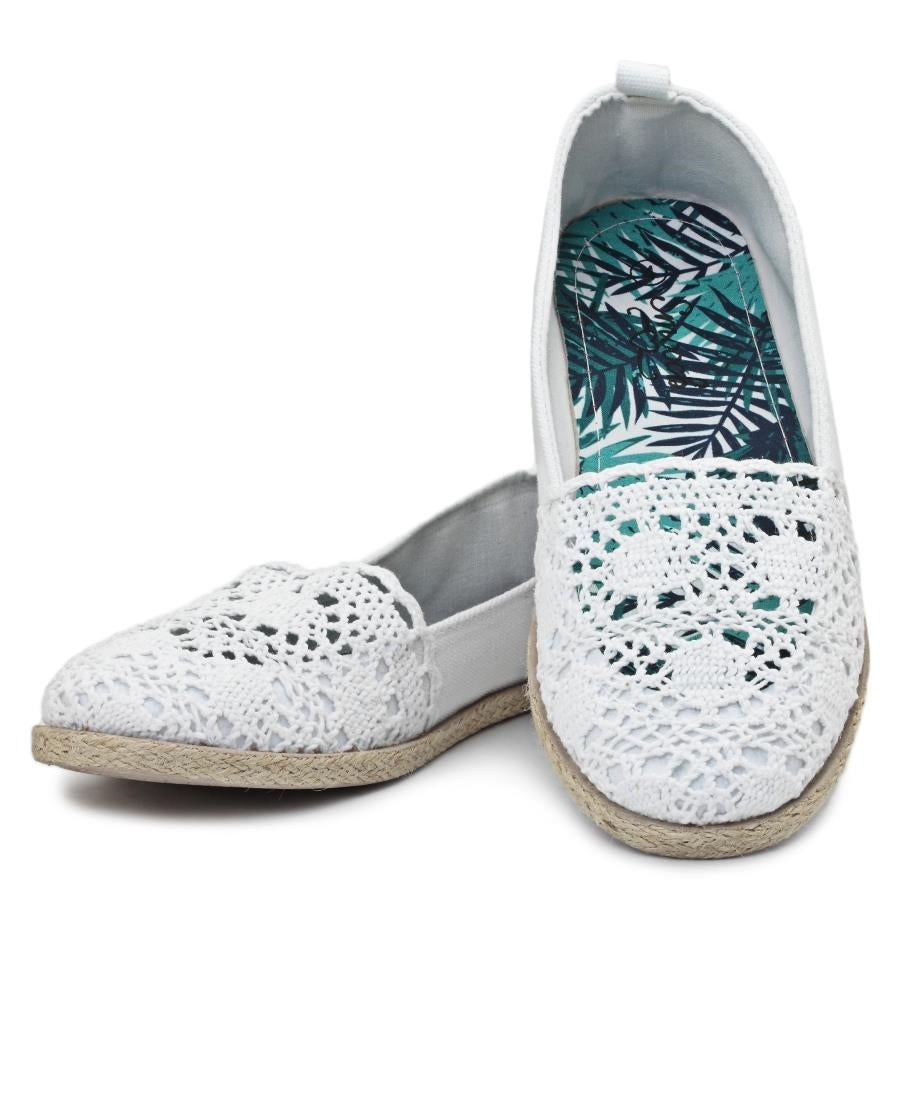 Lace Espadrille - White