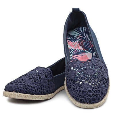 Lace Espadrille - Navy