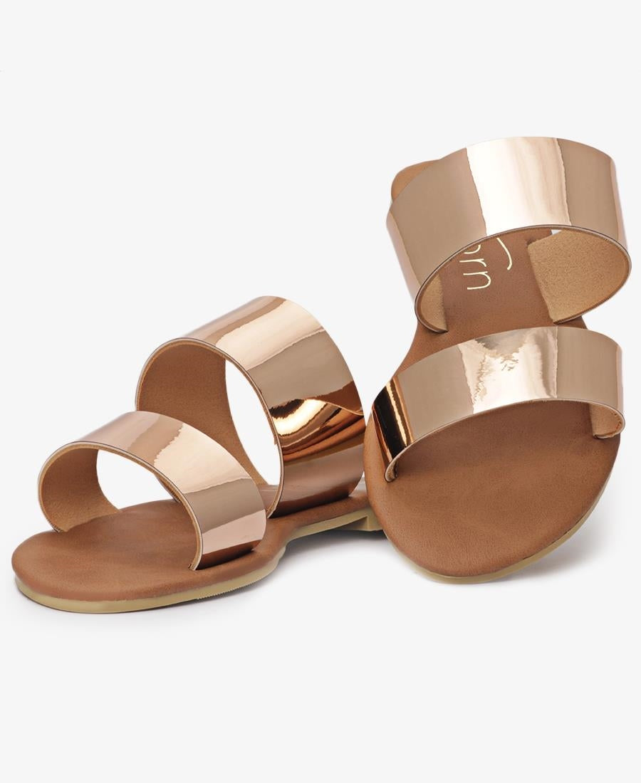 Girls Strappy Sandals - Rose Gold