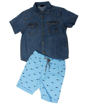 Boys Denim Shirt - Navy