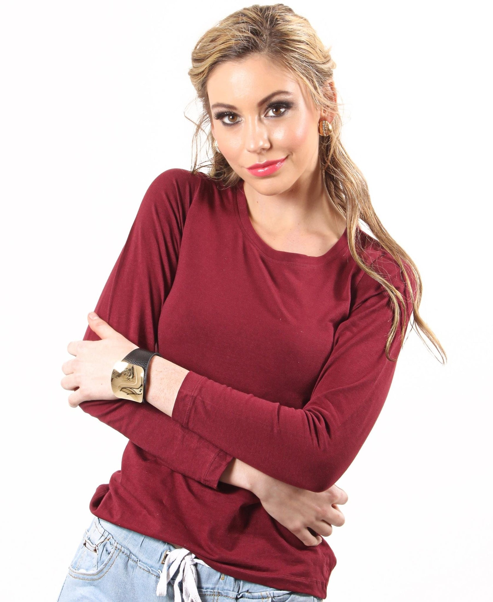 Soft Crew Neck Long Sleeve - Maroon