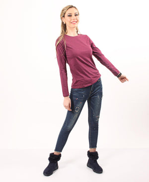 Soft Crew Neck Long Sleeve - Burgundy