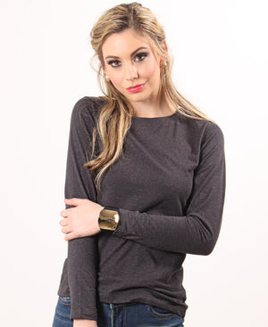 Soft Crew Neck Long Sleeve - Charcoal