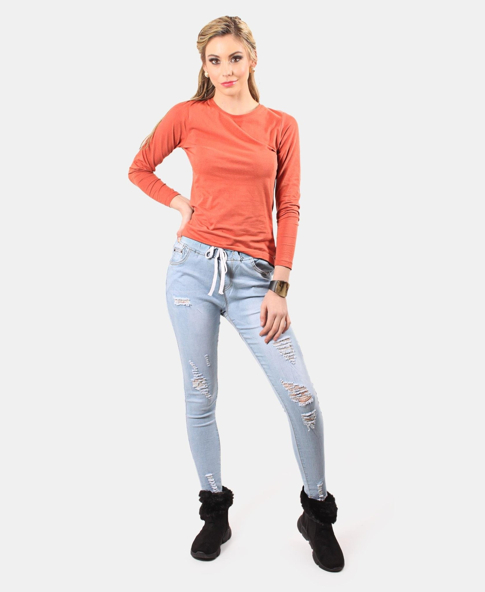 Soft Crew Neck Long Sleeve - Rust