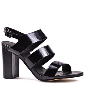 Strappy Block Heel  - Black