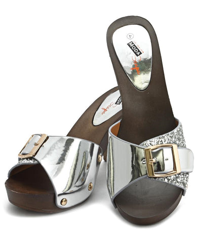 Wood Sandals - Silver