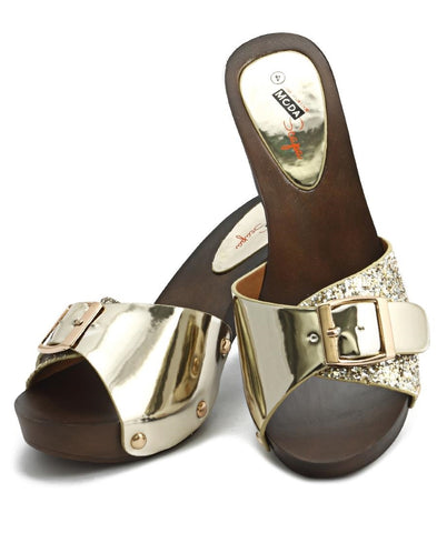 Wood Sandals - Gold