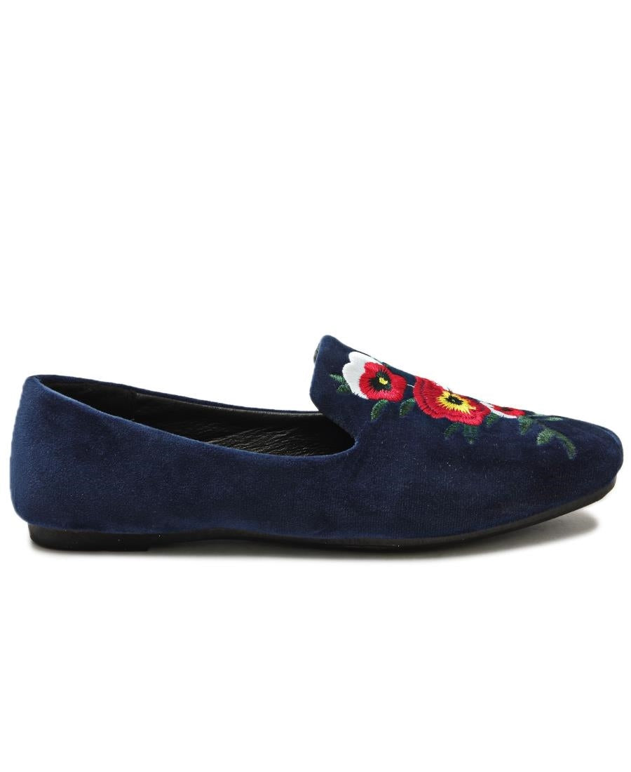 Rose Print Pumps - Navy