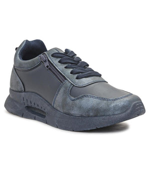 Ladies' Zip Detail Sneaker - Navy