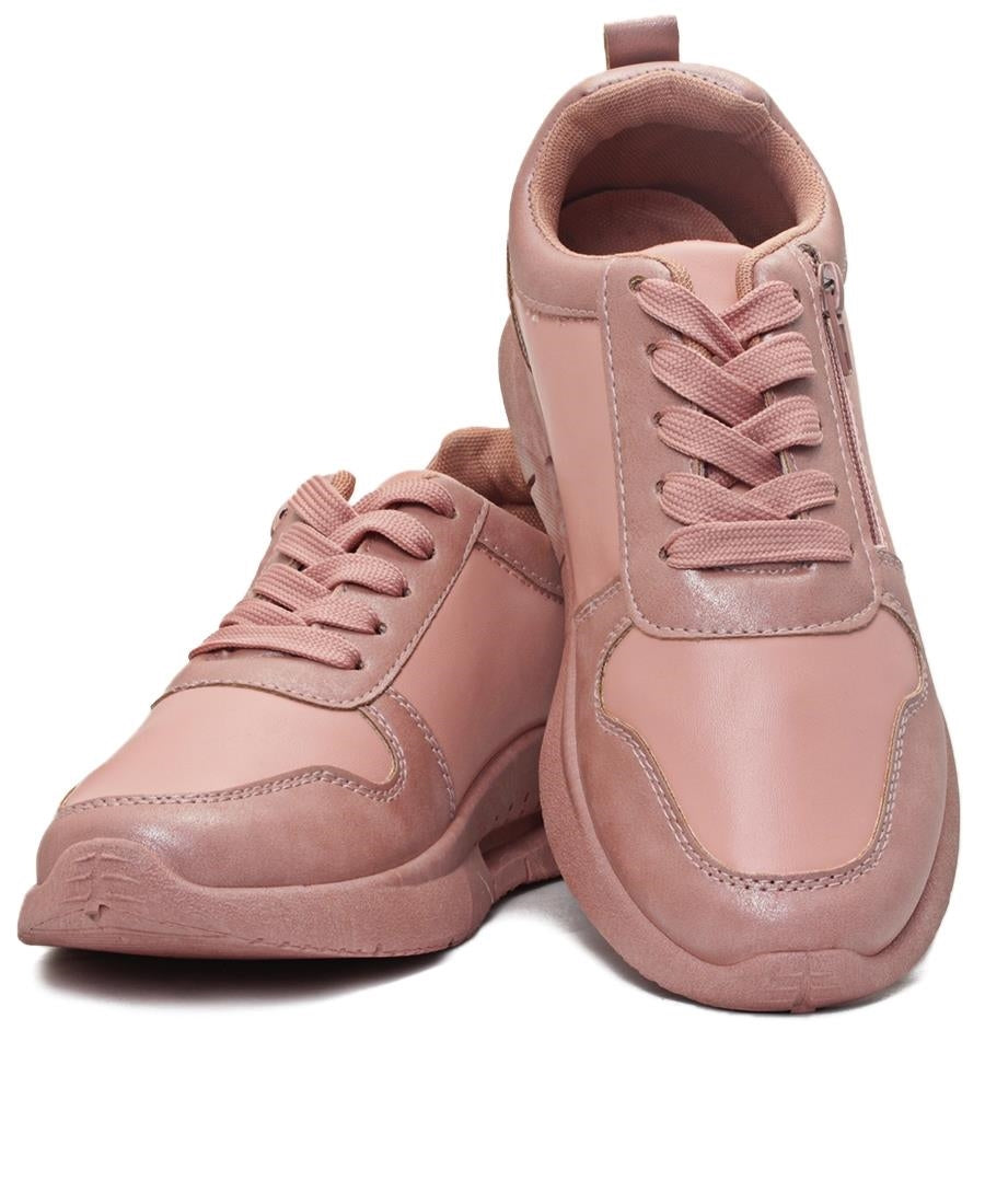 Ladies' Zip Detail Sneaker - Mink