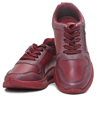 Ladies' Zip Detail Sneaker - Burgundy