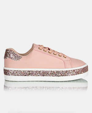 Ladies' Glitter Casual Sneakers - Mink