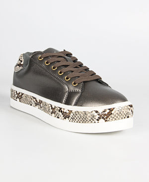 Ladies Pewter Snake Print Casual Sneakers - Boots