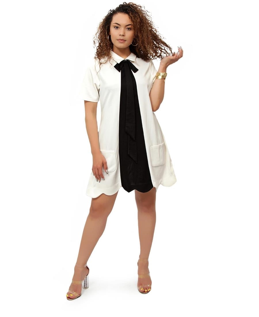 Ponti Bow Dress - White