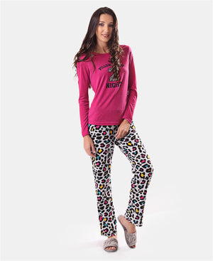 Printed Fleece Long Sleeve Pyjama Set - Purple