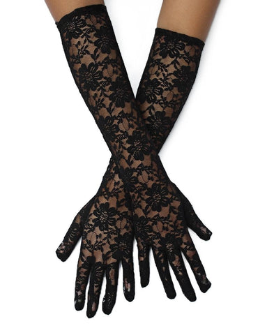 Long Lace Gloves - Black