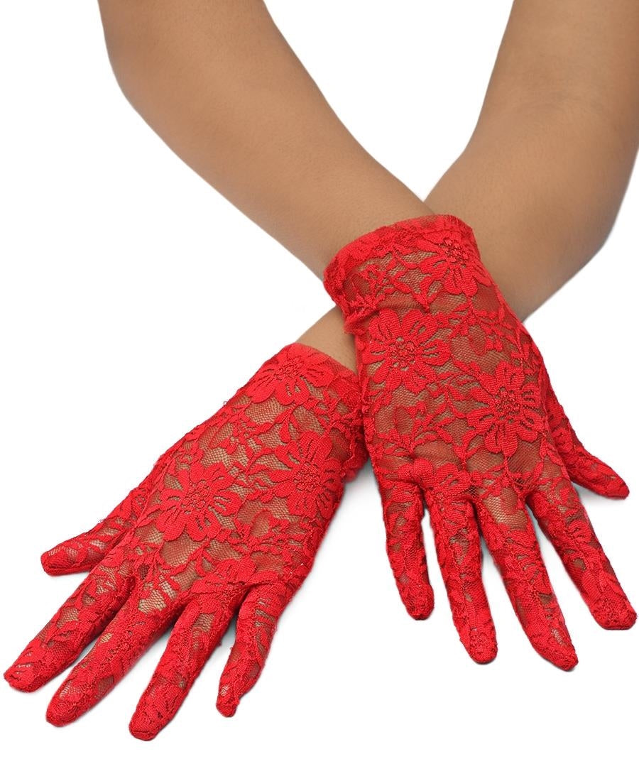 Short Lace Gloves - Red