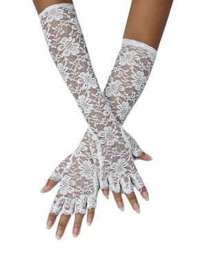 Long Lace Gloves - White
