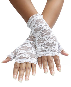 Short Lace Gloves - White