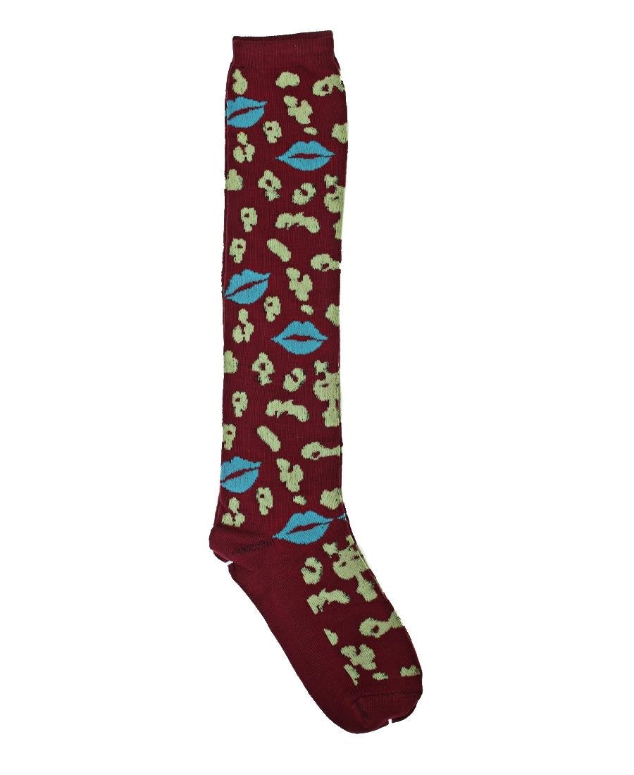 Below Knee Socks - Burgundy