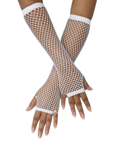 Long Fishnet Gloves - White