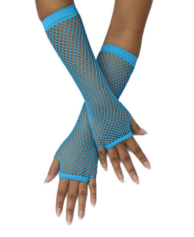 Long Fishnet Gloves - Light Blue