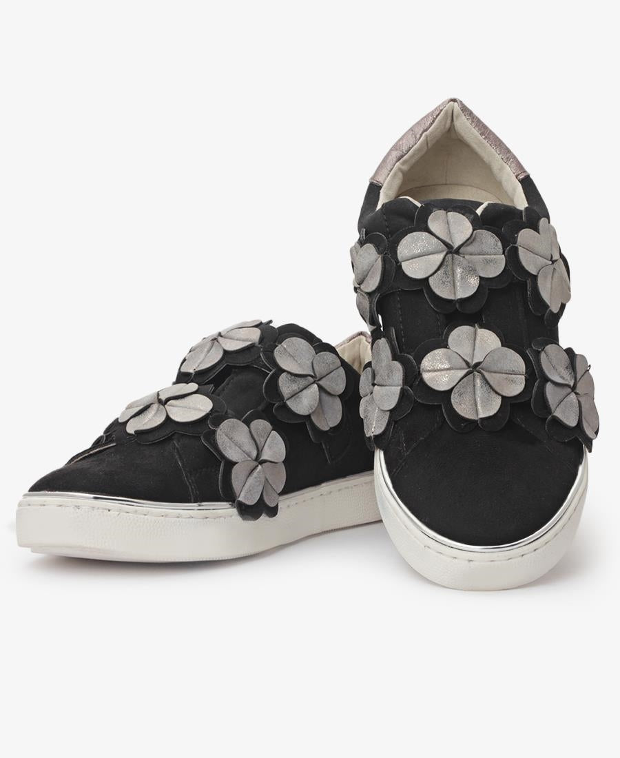 Flower Detail Sneakers - Black