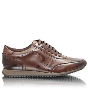 Leather Sneakers - Brown