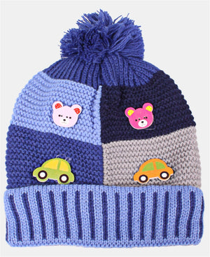 Kids Knitted Beanie - Blue