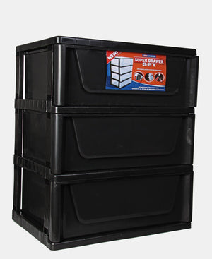 3 Tier Super Drawers - Black