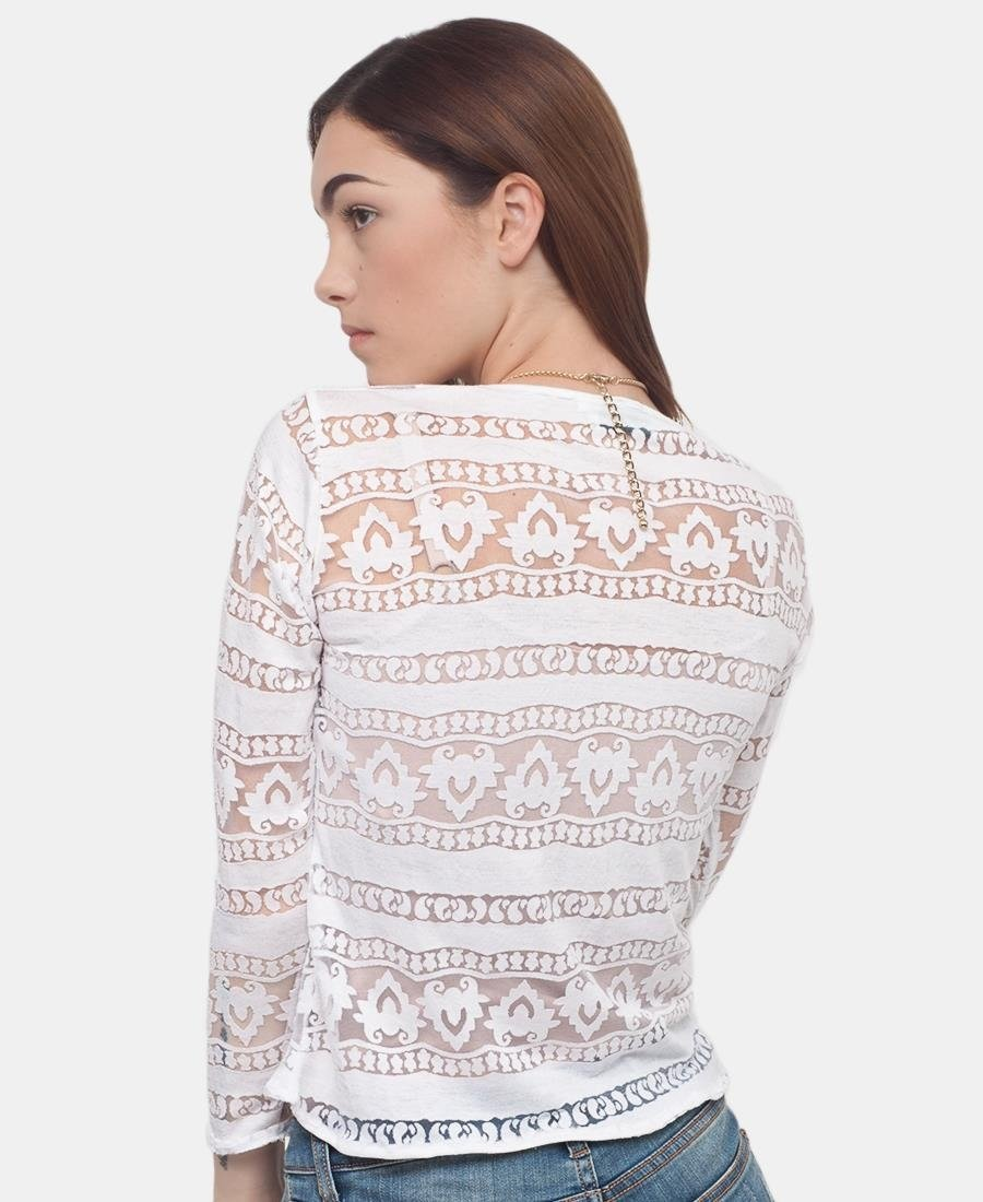 Mesh Long Sleeve Top - White