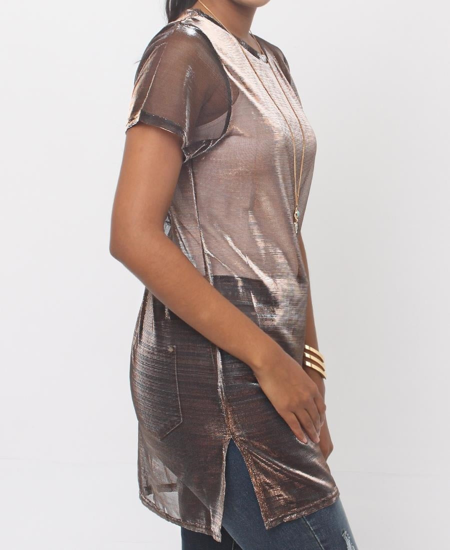 Mesh Overlay Top - Gold
