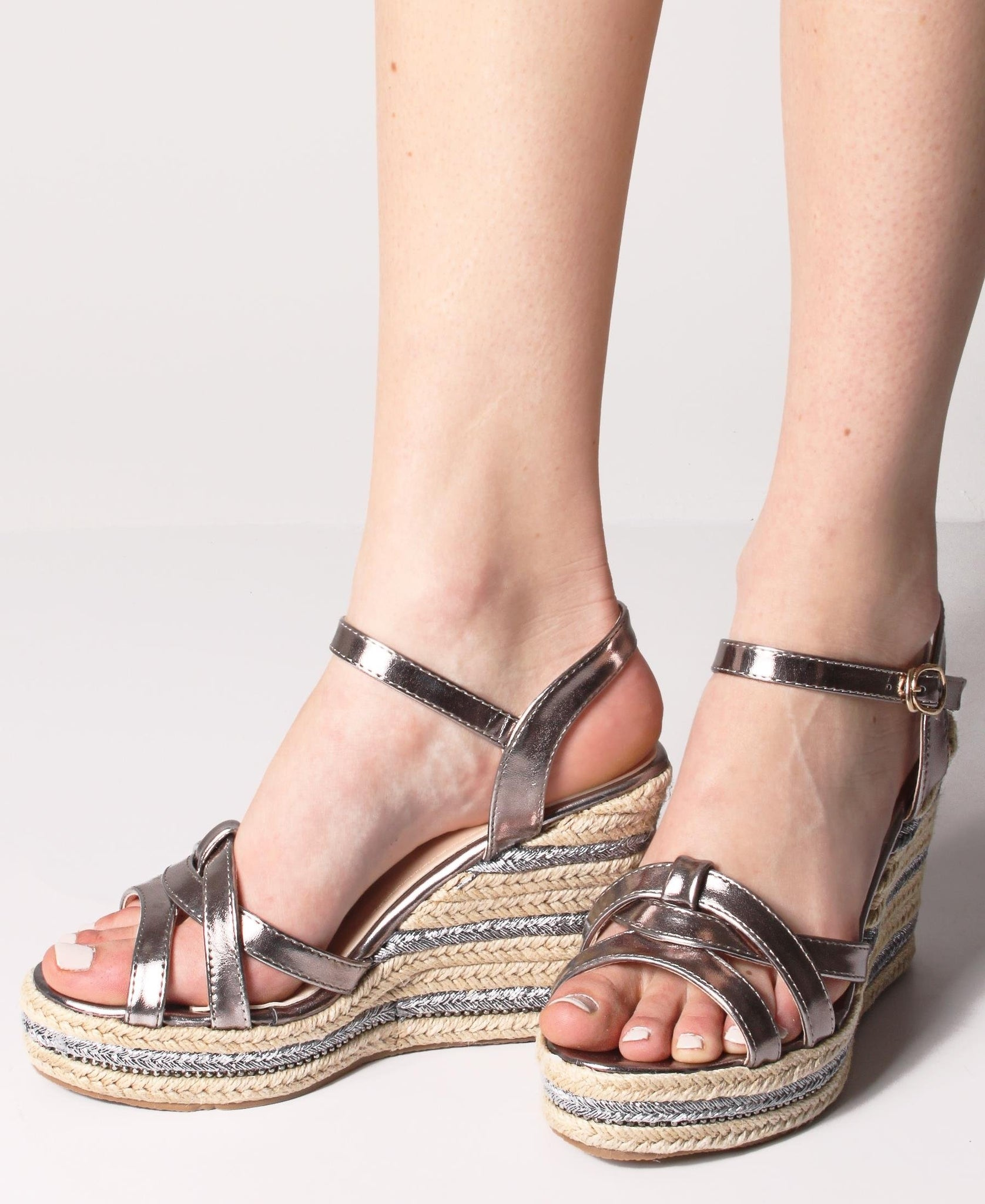 Espadrille Wedge Sandals - Gunmetal