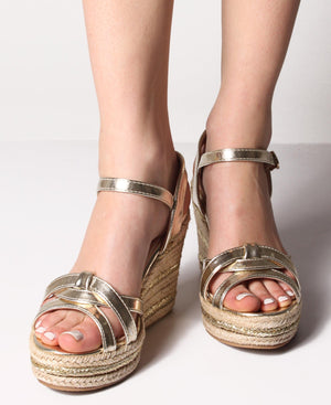 Espadrille Wedge Sandals - Gold