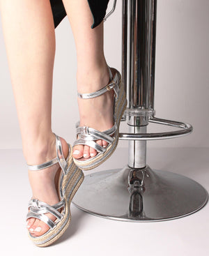 Espadrille Wedge Sandals - Silver