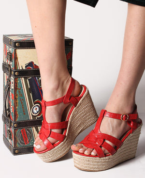 Espadrille Wedge Sandals - Red